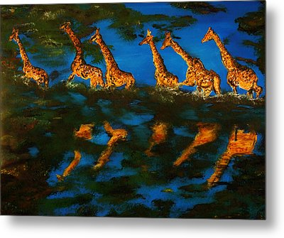 Giraffe In Africa Metal Print by Gregory Allen Page