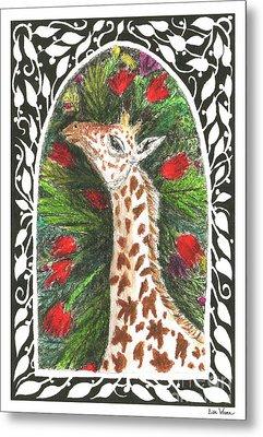 Giraffe In Archway Metal Print by Lise Winne
