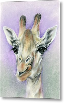 Giraffe With Beautiful Eyes Metal Print by MM Anderson