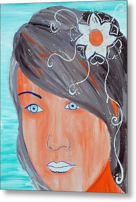 Metal Print featuring the painting Girl 12 by Josean Rivera