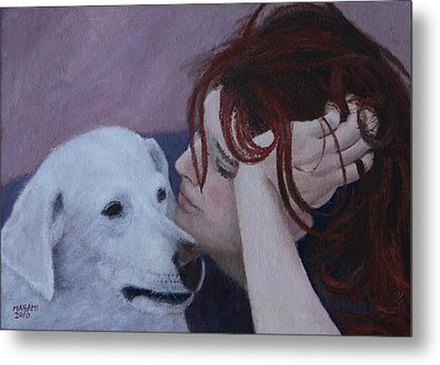 Girl And Dog Metal Print