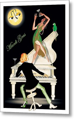 Girl Dancing On Piano Metal Print