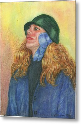 Metal Print featuring the painting Girl In Blue Ribbon by Jeanne Kay Juhos