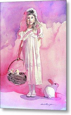 Girl In Pink Metal Print by David Lloyd Glover