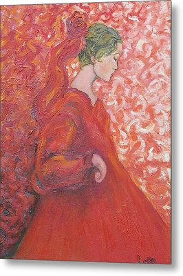 Girl In Red Metal Print by Lore Rossi