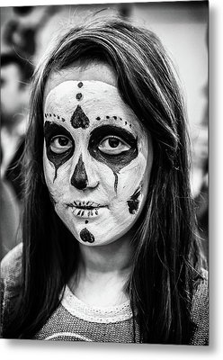 Metal Print featuring the photograph Girl In Skull Facepaint by John Williams