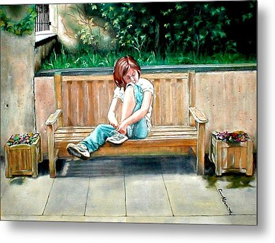Girl On A Bench Metal Print by G Cuffia