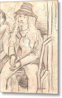 Girl On A Train Metal Print by Al Goldfarb
