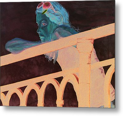 Metal Print featuring the painting Girl On The Rail by Kevin Callahan