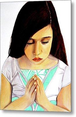 Girl Praying Drawing Portrait By Saribelle Metal Print by Saribelle Rodriguez