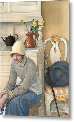 Girl With Ice Skates, Interior From The School Household, Falun Metal Print by Carl Larsson