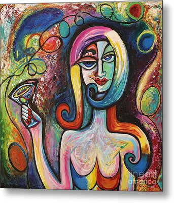 Girl With Martini Cocktail Abstract Metal Print by Genevieve Esson
