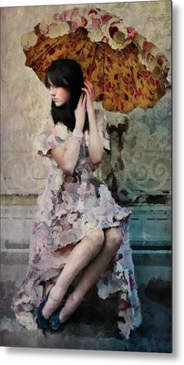 Girl With Parasol Metal Print