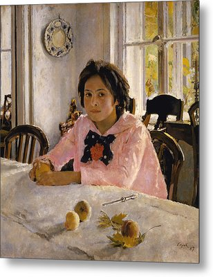 Girl With Peaches. Portrait Of V.s.mamontova  Metal Print