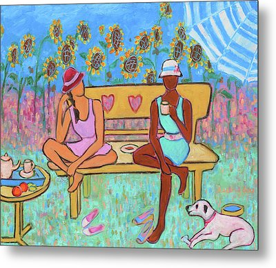 Metal Print featuring the painting Girlfriends' Teatime IIi by Xueling Zou