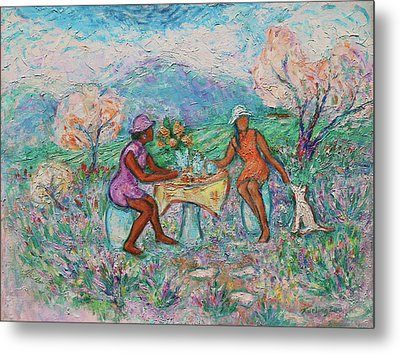Metal Print featuring the painting Girlfriends' Teatime Iv by Xueling Zou