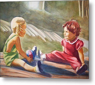 Metal Print featuring the painting Girls Playing Ball  by Marilyn Jacobson