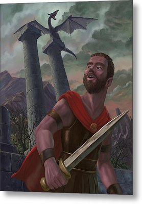 Gladiator Warrior With Monster On Pillar Metal Print by Martin Davey