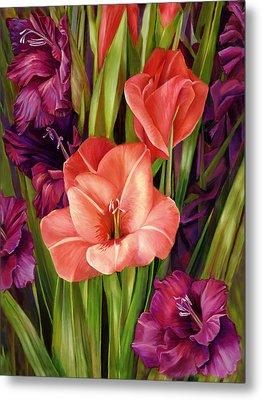 Gladiolus A Bee's View Metal Print by Nancy Tilles