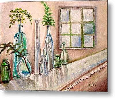 Glass And Ferns Metal Print by Elizabeth Robinette Tyndall