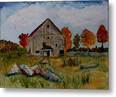 Metal Print featuring the painting Glover Barn In Autumn by Donna Walsh