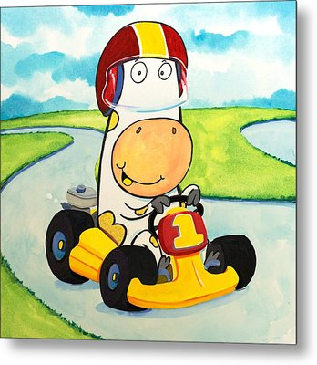 Go Cart Cow Metal Print