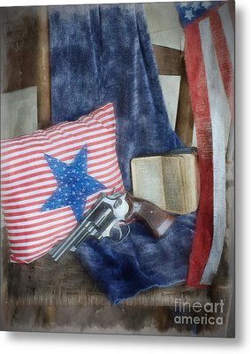 Metal Print featuring the photograph God, Guns And Old Glory by Benanne Stiens