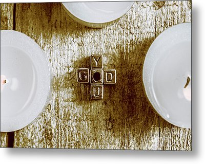 God Is You Metal Lettering Typography Near White Candles, Faith  Metal Print by Jorgo Photography - Wall Art Gallery