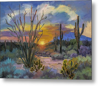 God's Day - Sonoran Desert Metal Print by Diane McClary