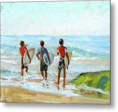 Going For The Surf Metal Print by Dominique Amendola