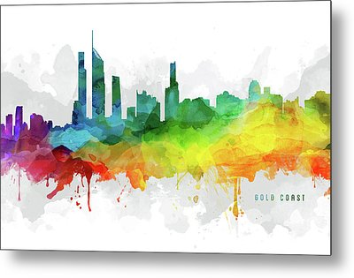 Gold Coast Skyline Mmr-augc05 Metal Print by Aged Pixel