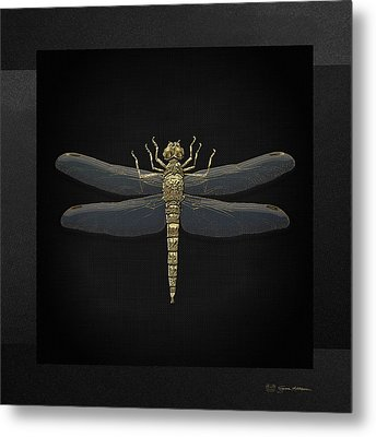 Gold Dragonfly On Black Canvasgold Dragonfly On Black Canvas Metal Print