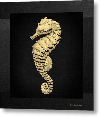 Gold Seahorse On Black Canvas Metal Print