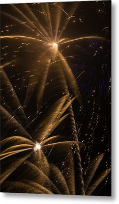 Golden Fireworks Metal Print by Garry Gay