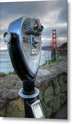 Golden Gate Binoculars Metal Print by Peter Tellone