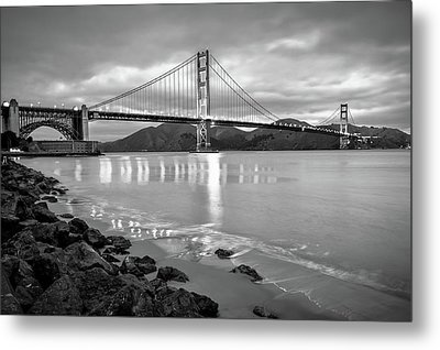 Golden Gate Bridge In Black And White - San Francisco Cityscape Metal Print