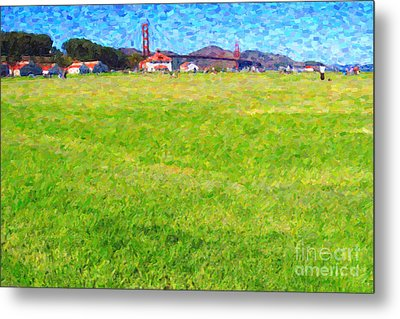 Golden Gate Bridge Viewed From Crissy Fields Metal Print by Wingsdomain Art and Photography