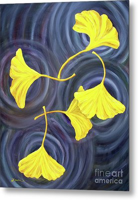 Golden Ginkgo Leaves On Gray  Metal Print by Laura Iverson
