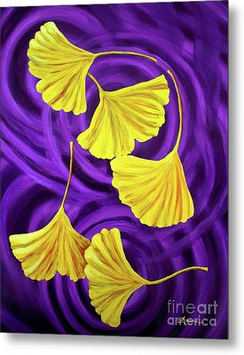 Golden Ginkgo Leaves On Purple Metal Print by Laura Iverson