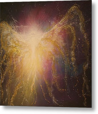 Golden Healing Angel Metal Print