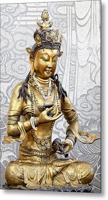 Golden Kuan Yin Metal Print
