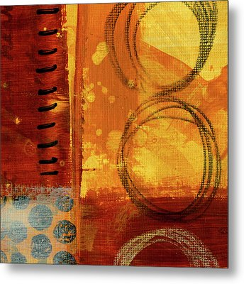 Metal Print featuring the painting Golden Marks 10 by Nancy Merkle