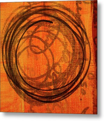 Metal Print featuring the painting Golden Marks 9 by Nancy Merkle
