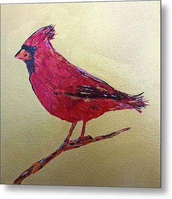Golden Morning Cardinal Metal Print