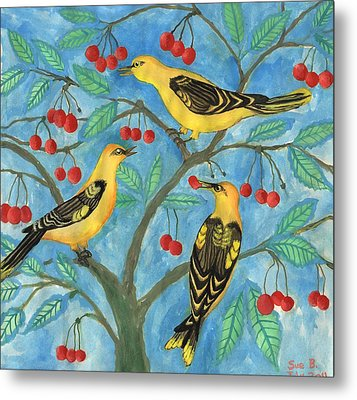 Golden Orioles In A Cherry Tree Metal Print