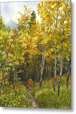 Metal Print featuring the painting Golden Solitude by Anne Gifford