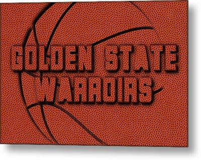 Golden State Warriors Leather Art Metal Print by Joe Hamilton