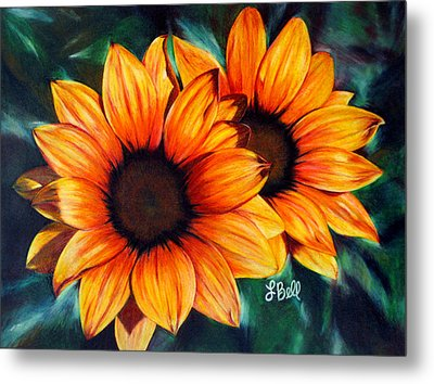 Metal Print featuring the painting Golden Sun by Laura Bell