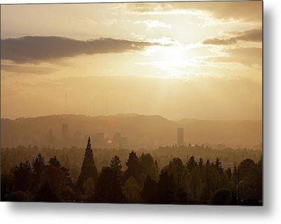 Golden Sunset Over Portland Skyline Metal Print by David Gn