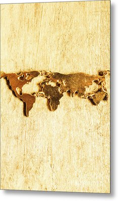 Golden World Continents Metal Print